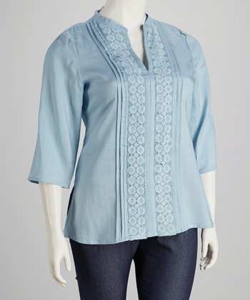 Sky Blue Crocheted Plus-Size Tunic