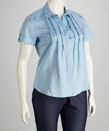 Sky Blue Plus-Size Short-Sleeve Button-Up
