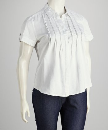 White Plus-Size Short-Sleeve Button-Up