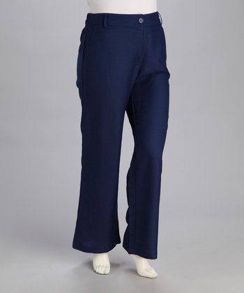 Navy Plus-Size Straight-Leg Pants