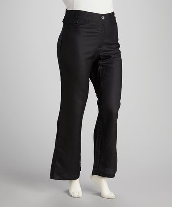 Black Plus-Size Straight-Leg Pants