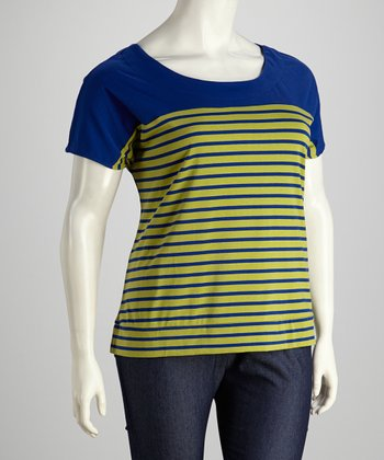 Royal & Chartreuse Stripe Plus-Size Short-Sleeve Top