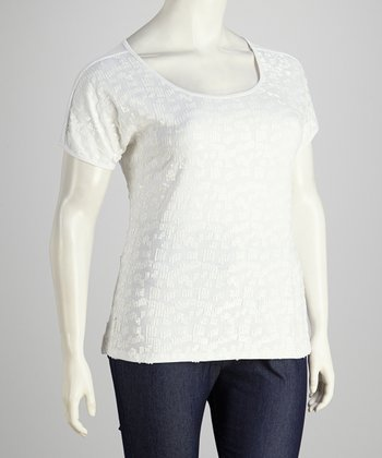 White Shimmer Plus-Size Short-Sleeve Top