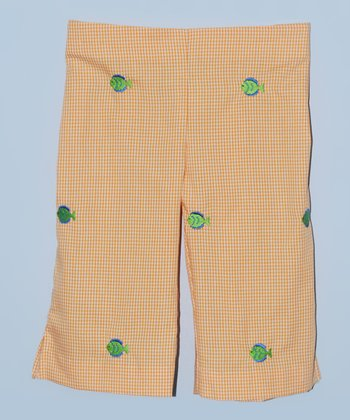 K&L Orange Gingham Fish Capri Pants - Toddler & Girls