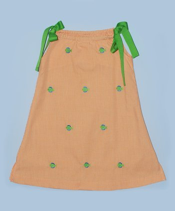 K&L Orange Gingham Fish Ribbon A-Line Dress - Toddler & Girls