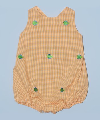 K&L Orange Gingham Fish Bubble Romper - Infant