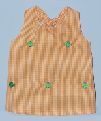 K&L Orange Gingham Fish Halter Top - Toddler & Girls