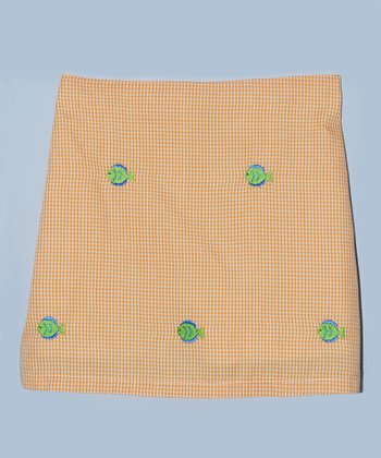 K&L Orange Gingham Fish Skort - Infant & Toddler