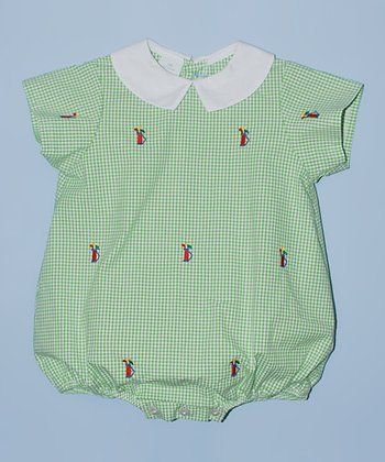 K&L Green Gingham Golf Bag Bubble Romper - Infant