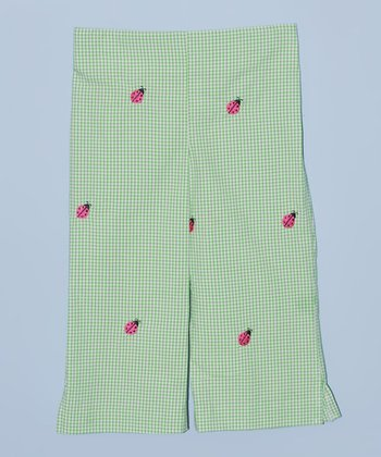K&L Green Gingham Ladybug Capri Pants - Toddler & Girls