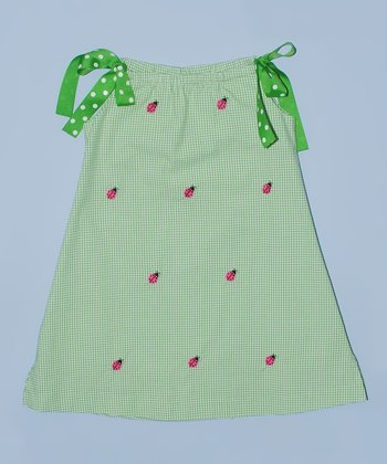 K&L Green Gingham Ladybug Ribbon A-Line Dress - Toddler & Girls