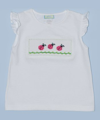 K&L White Ladybug Embroidered Tee - Infant & Toddler