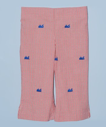 K&L Red Gingham Whale Capri Pants - Toddler & Girls