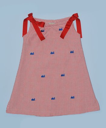 K&L Red Gingham Whale Ribbon A-Line Dress - Toddler & Girls