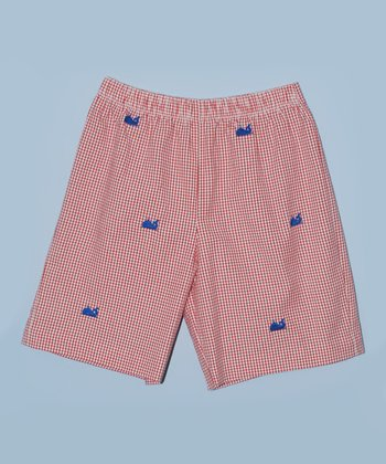K&L Red Gingham Whale Shorts - Toddler & Boys