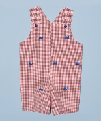 K&L Red Gingham Whale Shortalls - Infant & Toddler