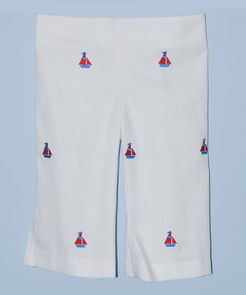K&L White Sailboat Capri Pants - Toddler & Girls