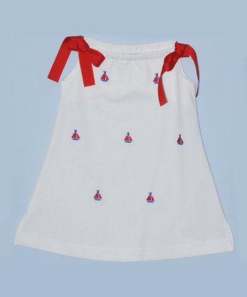 K&L White Sailboat Ribbon A-Line Dress - Toddler & Girls