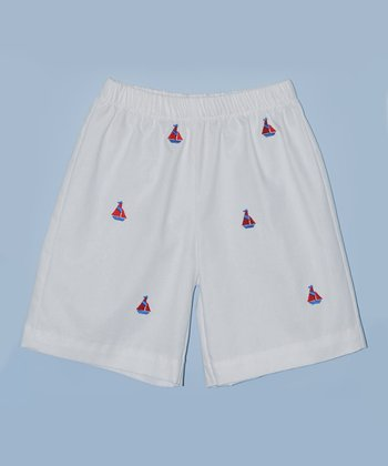 K&L White Sailboat Shorts - Toddler & Boys