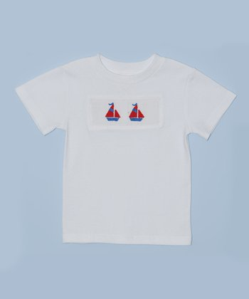 K&L White Sailboat Embroidered Tee - Toddler & Boys