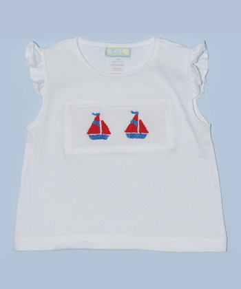 K&L White Sailboat Embroidered Tee - Infant & Toddler