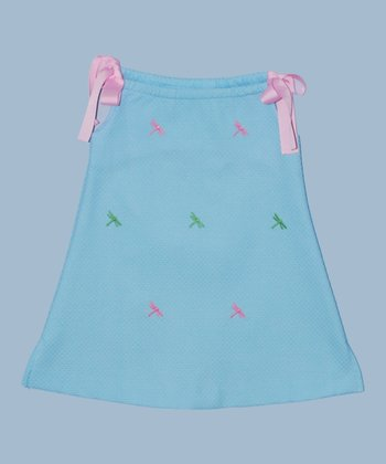 K&L Light Blue Dragonfly Ribbon A-Line Dress - Toddler & Girls