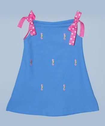 K&L Blue Seahorse Ribbon A-Line Dress - Toddler & Girls