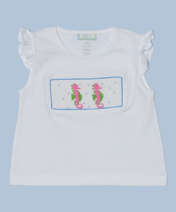 K&L White Seahorse Embroidered Tee - Infant & Toddler