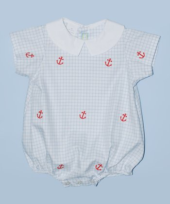 K&L Light Blue Lattice Anchor Bubble Romper - Infant