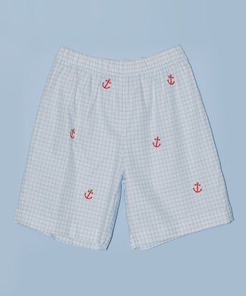 K&L Light Blue Lattice Anchor Shorts - Toddler & Boys