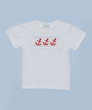 K&L White Anchor Embroidered Tee - Toddler & Boys