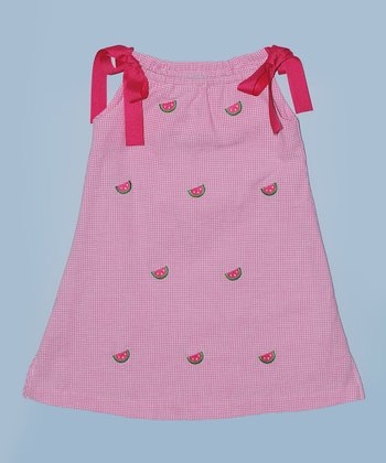 K&L Pink Gingham Watermelon Ribbon A-Line Dress - Toddler & Girls