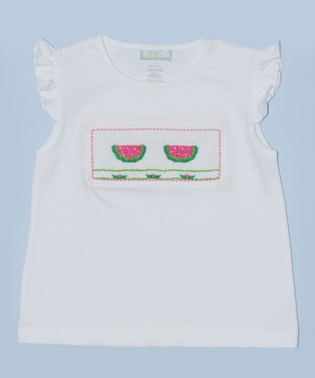 K&L White Watermelon Embroidered Tee - Infant & Toddler