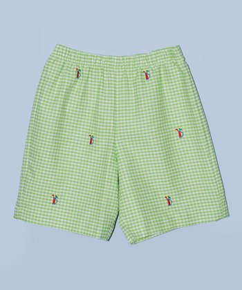 K&L Green Gingham Golf Bag Shorts - Toddler & Boys