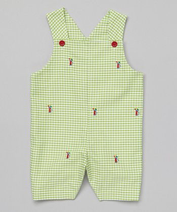 K&L Green Gingham Golf Bag Shortalls - Infant & Toddler