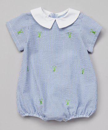 K&L Blue Frog Seersucker Bubble Romper - Infant