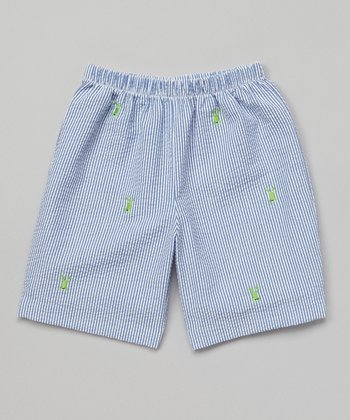 K&L Blue Frog Seersucker Shorts - Toddler & Boys