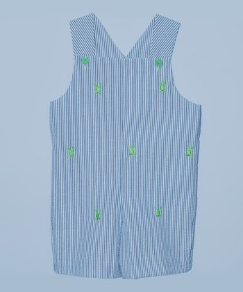 K&L Blue Frog Seersucker Shortalls - Infant & Toddler
