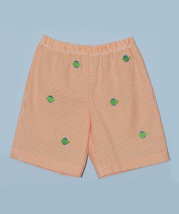K&L Orange Gingham Fish Shorts - Toddler & Boys