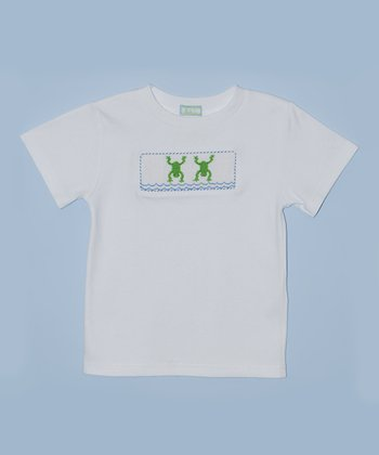 K&L White Frog Embroidered Tee - Toddler & Boys