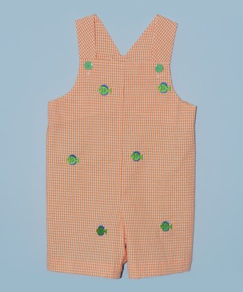 K&L Orange Gingham Fish Shortalls - Infant & Toddler