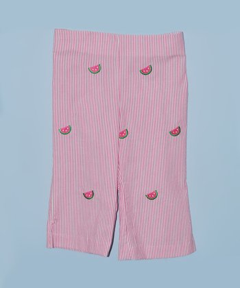 K&L Pink Watermelon Seersucker Capri Pants - Toddler & Girls