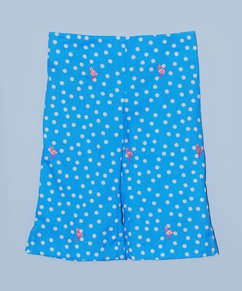 K&L Blue Polka Dot Flamingo Capri Pants - Toddler & Girls