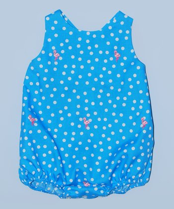 K&L Blue Polka Dot Flamingo Bubble Romper - Infant