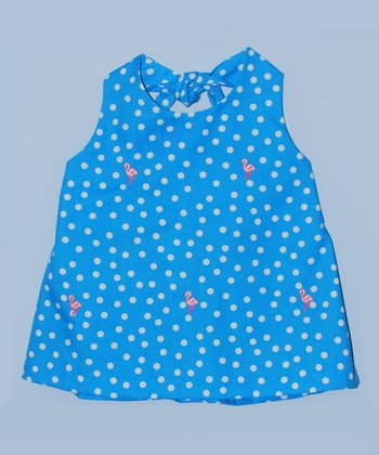K&L Blue Polka Dot Flamingo Halter Top - Toddler & Girls