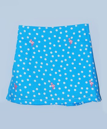 K&L Blue Polka Dot Flamingo Skort - Infant & Toddler