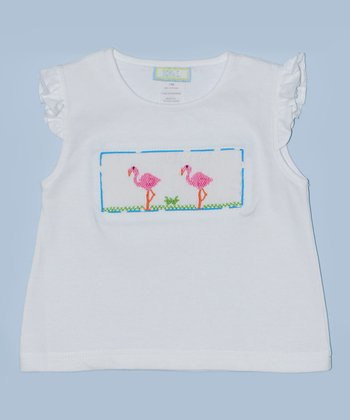 K&L White Flamingo Embroidered Tee - Infant & Toddler