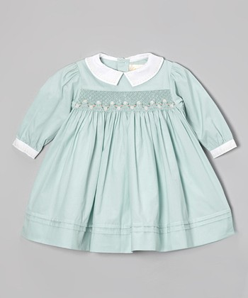 Green Smocked Dress - Infant
