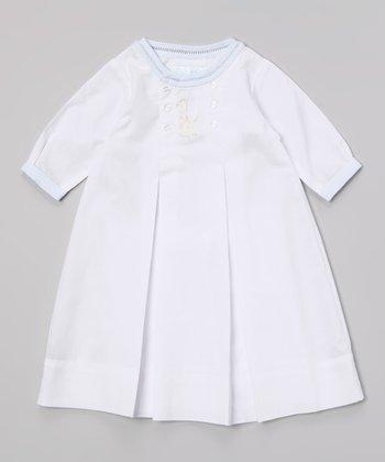 White & Blue Giraffe Button Front Dress - Infant