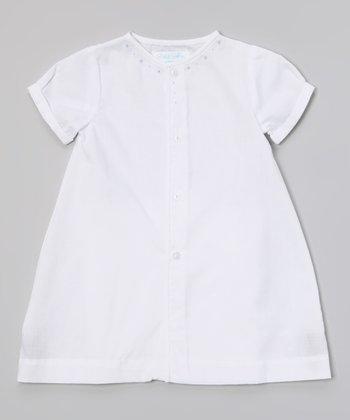 White & Blue Button-Up Dress - Infant